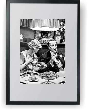 Man & Woman Winter Lunch - plakat A3 w ramce