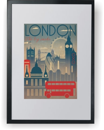 London Poster Art Deco - plakat A3 w ramce