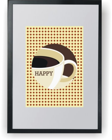 Cup of Coffea HAPPY - plakat a3 z ramką