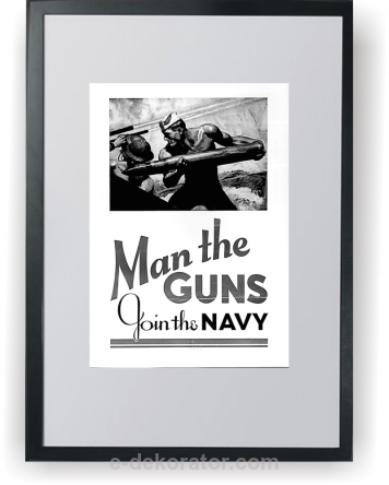 Plakat wojenny w ramce Man the Guns - Join to Army