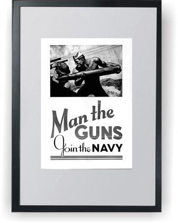 Man the Guns - Join to Army - plakat A3 w ramce
