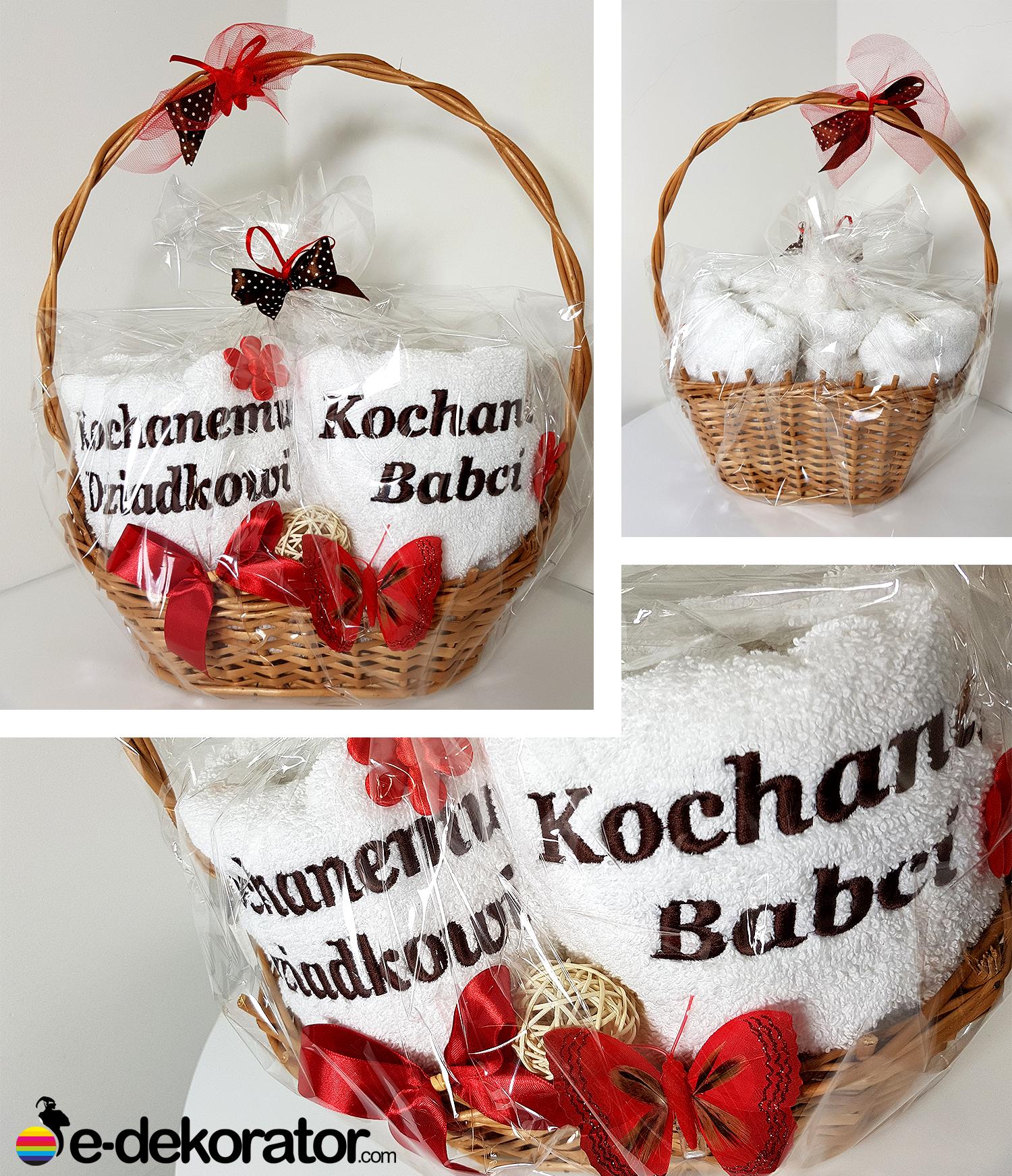 KOSZ GRAND zestaw ręczników z haftem - Kochanej Babci - Kochanemu Dziadkowi 2x50x100cm 4