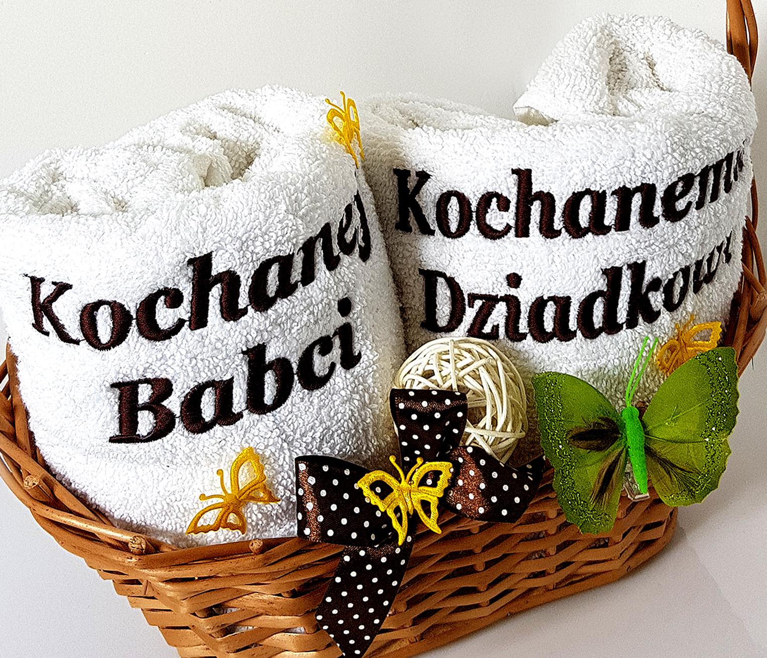 kosze dla dziadków z ręcznikami kochanej babci kochanemu dziadkowi