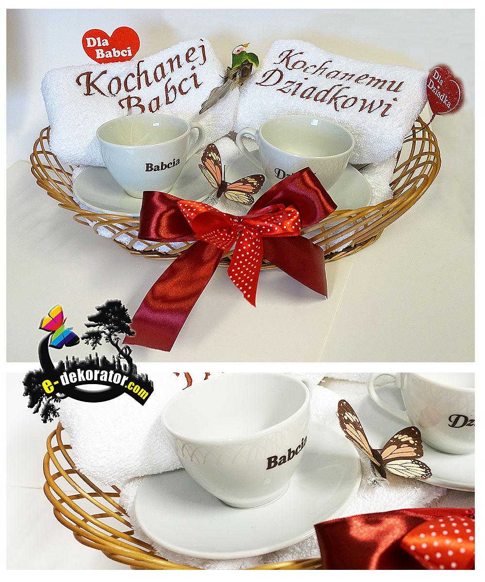 Kosz Babcia Dziadek - 2 Ręczniki 2 Filiżanki do kawy - komplet DZIEŃ BABCI DZIADKA dla dziadków babć upominek na święto jubileusz