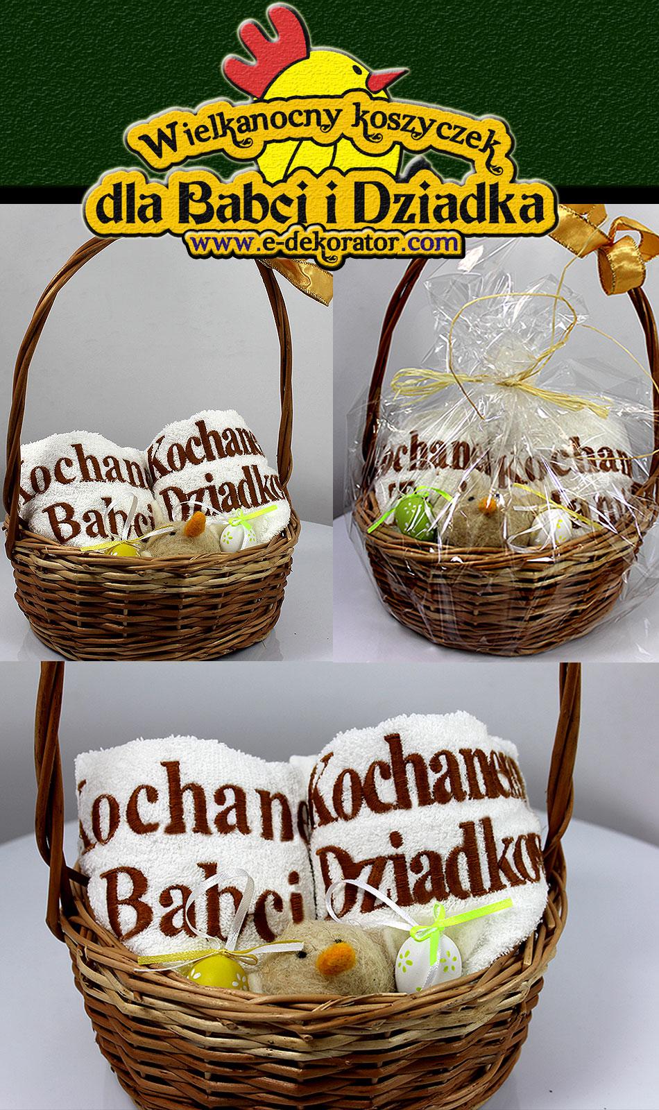 Wielkanocny Koszyk Dekoracyjny z ręcznikami dla Babci i Dziadka