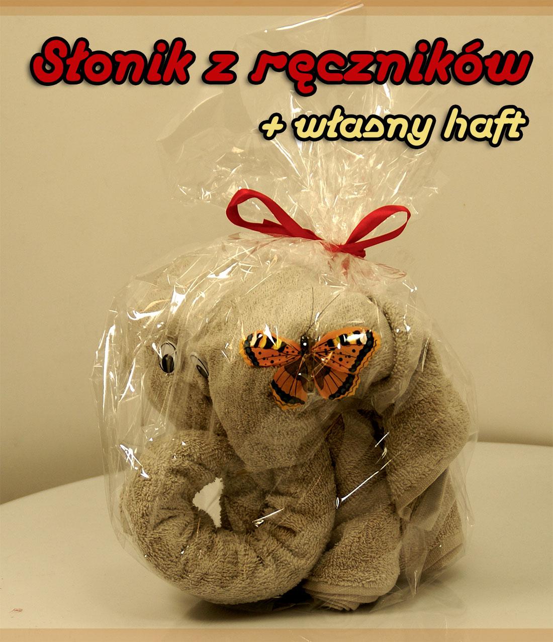 słonik z ręczników - z własnym haftem
