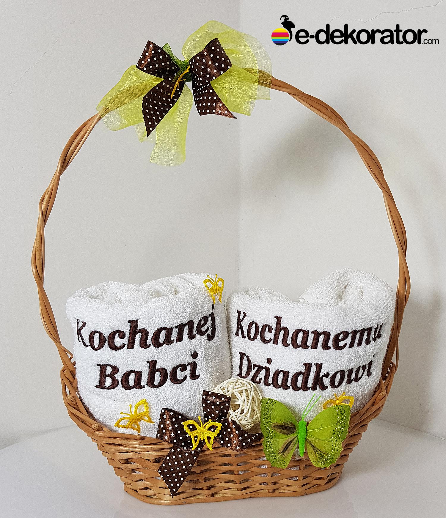KOSZ GRAND zestaw ręczników z haftem - Kochanej Babci - Kochanemu Dziadkowi 2x50x100cm